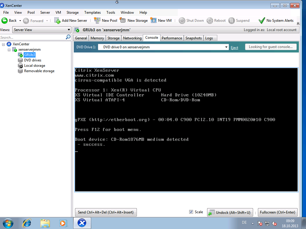 Bug 30978 – Grub menu not visible in Citrix XenServer